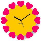 Zeeshaan Blossoming Hearts Yellow Pink Wall Clock