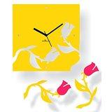 Zeeshaan Falling Roses Yellow & Pink Wall Clock
