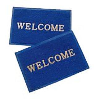 Akash Ganga Blue Contemporary Welcome Mats 2 Pcs