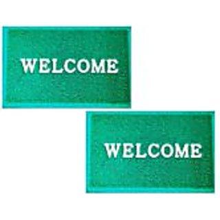 Akash Ganga Green Contemporary Welcome Mats 2 Pcs
