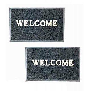 Akash Ganga Grey Contemporary Welcome Mats (2 Pcs)