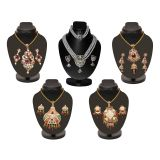 Combo Of 4 Colorful Heavy Pendant Sets With 3 Row Pearl Set D And Y1001