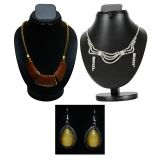 Combo Of Trendy Cz Necklace Set With Twisted Trinket And Stylish Pearl Earring D And Y 1023