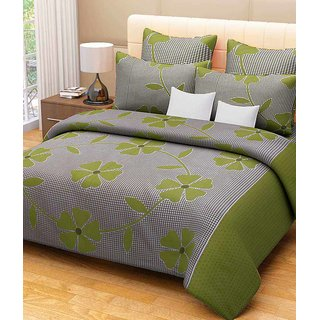 Akash Ganga Green Cotton Double Bedsheet With 2 Pillow Covers (KM-002)