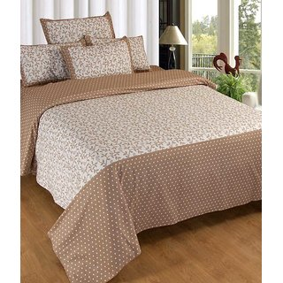 Akash Ganga Brown Cotton Double Bedsheet with 2 Pillow Covers (KM-006)