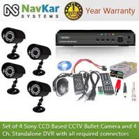 Set Of 4 NIGHT Vision CCTV Bullet Cameras, 4 Ch DVR With All Required Connectors