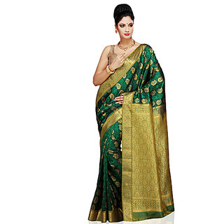 Dark green art kanchipuram silk saree with blouse