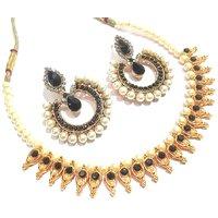 Black pearl leaf tilak Polki necklace  set