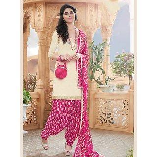 Sareemall White Satin Embroidered Salwar Suit Dress Material