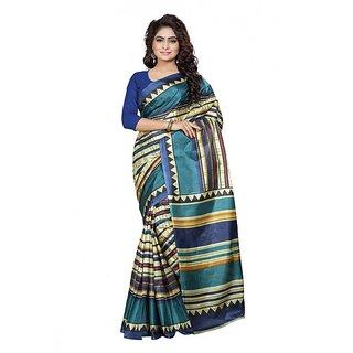 Ambaji Blue  Beige Colored Silk Saree