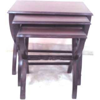 AJIT FURNITURE NESTING TABLE TEAK WOOD BROWN 3 PIECE TABLE