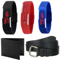 Combo of 3 Led Watches  Belt And Wallet
