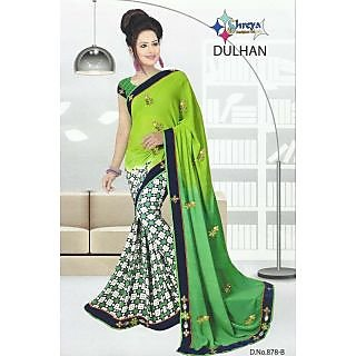 shive fabrics lite green geogatte  printed sarees