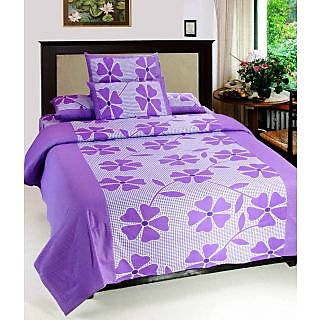 Akash Ganga Purple Pure Cotton Double Bedsheet with 2 Pillow Covers (KMZ-003)