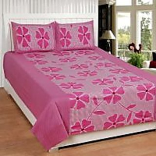 Akash Ganga Pink Cotton Double Bedsheet with 2 Pillow Covers (KMZ-005)
