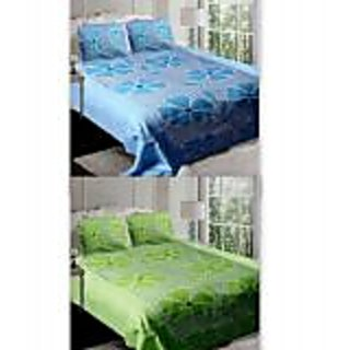 Akash Ganga Combo of 2 Cotton Double Bedsheets (BlueGreen)