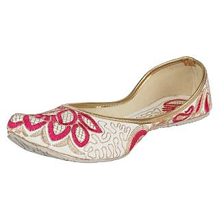 Sassily Womens Embroidery White Red designer Juti-SS-214-3