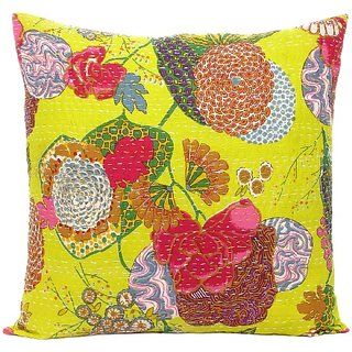 Craftbaba handmade yellow kantha cotton cushion cover 16 inch