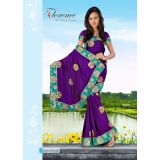 Florence Purple Chiffon Jaquard Saree With Unstitched Blouse 3335b