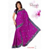 Florence Purple Moss Jaquard Saree With Unstitched Blouse 3434
