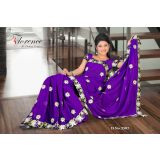 Florence Purple Chiffon Emboss Saree With Unstitched Blouse 3507