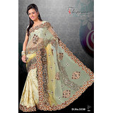 Florence Cream Net & Brasso Saree With Unstitched Blouse 3530 available at ShopClues for Rs.2755