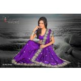 Florence Purple Chiffon Jaquard Saree With Unstitched Blouse 3541
