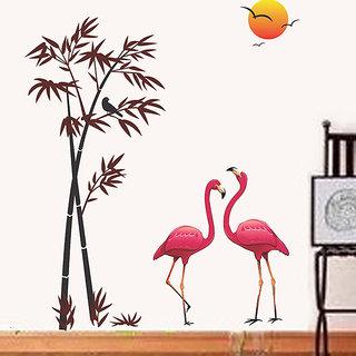 Pvc Pink Flamingos Bamboo At Sunset Wall Decal 24x35 Inch Buy Pvc Pink Flamingos Bamboo At