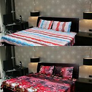 Akash Ganga Combo of 2 Cotton Double bedsheet with 4 Pillow Cover (KK COMBO 101)
