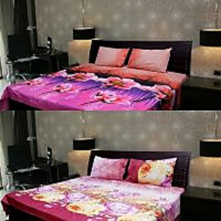 Akash Ganga Multi-Colour 2 Double Bedsheet with 4 Pillow Covers (KK COMBO 102)