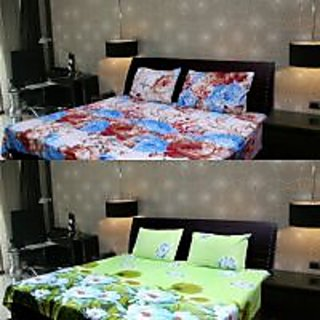 Akash Ganga Multi-Colour 2 Double Bedsheet with 4 Pillow Covers (KK COMBO 104)