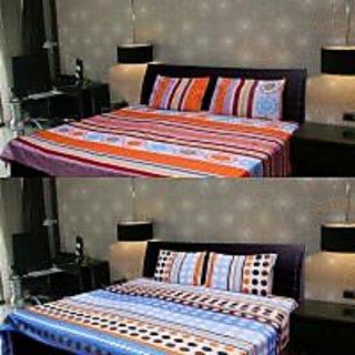 Akash Ganga 2 Multi-Colour Double Bedsheet with 4 Pillow Covers (KK COMBO 105)