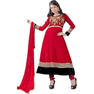 RapidDukan Semi Stitched Red Color Designer Suit Sf235