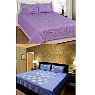 Akash Ganga PurpleBlue 2 Cotton Double bedsheets (KK COMBO 1)