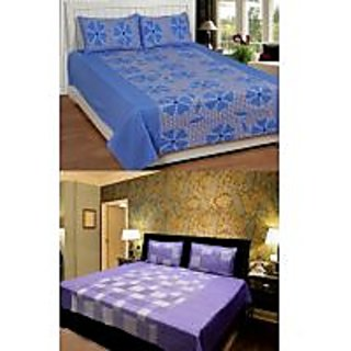 Akash Ganga Combo of 2 Cotton Double bedsheet with 4 Pillow Cover (KK COMBO 5)