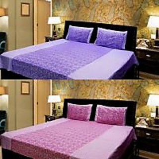 Akash Ganga Combo of 2 Cotton Double bedsheet with 4 Pillow Cover (KK COMBO 17)