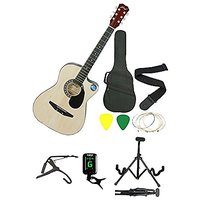 JIXING NATURAL ACOUSTIC GUITAR WITH (Foldable Guitar Stand,Tuner,Capo,Strap,Bag,strings,picks)
