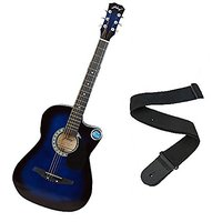Jixing Acoustic Guitar With Strap Blue