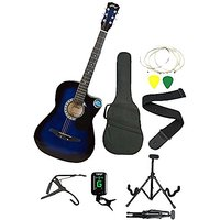 JIXING BLUE ACOUSTIC GUITAR WITH (Foldable Guitar Stand,Tuner,Capo,Strap,Bag,strings,picks)