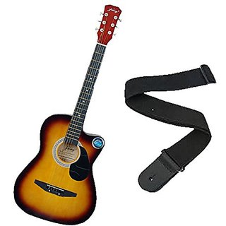 Jixing Acoustic Guitar with Strap Sunburst available at ShopClues for Rs.2850