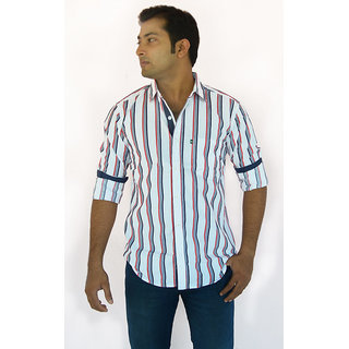 Red Inkpot Men Red And Navy Blue Striped Casual Shirt Full Sleeves