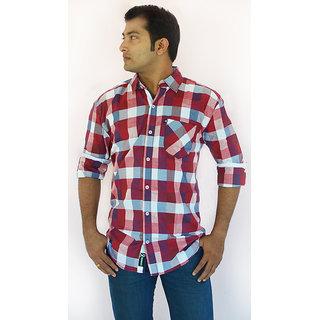 Redinkpot Men Carise Red & White Checked Casual Shirt (Full Sleeves)