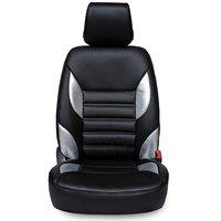 Hi Art Black/Silver Complete Set Leatherite Seat Covers for Hyundai i20 (2008-2012)
