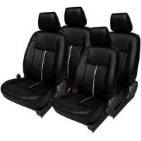 Hi Art Black/Silver Complete Set Leatherite Seat Covers for Maruti Alto K10