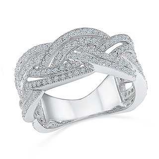 Radiant Bays Fancy Knot Diamond Ring in 18k White Gold (Diamond Quality VVS-GH)