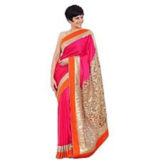 Ambaji Pink Colored CHIFFON Plain Saree