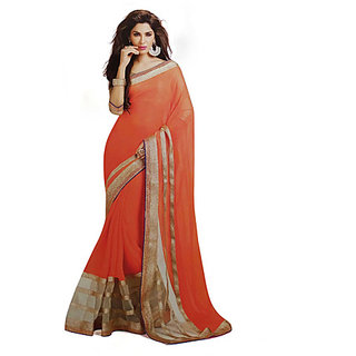 Ambaji Orange Colored chiffon  net Plain Saree