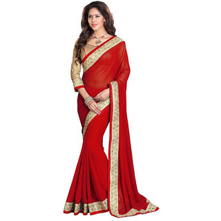 Ambaji Red Colored CHIFFON Plain Saree