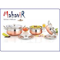 Mahavir Stainless Steel Apple Design Copper Cook & Serve Cookware Set (3 Pcs)