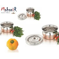 Mahavir Stainless Steel Belly Baby Design Copper Cook & Serve Set (3 Pcs)